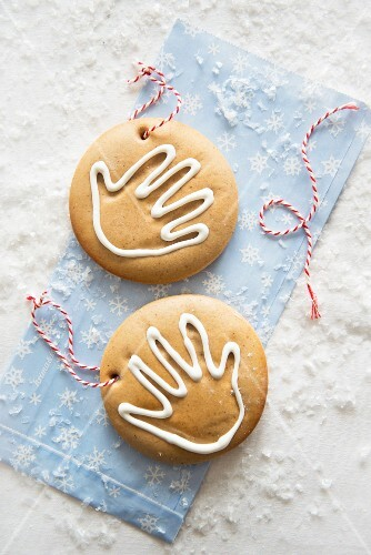 Two child's biscuits for hanging up (Christmassy)