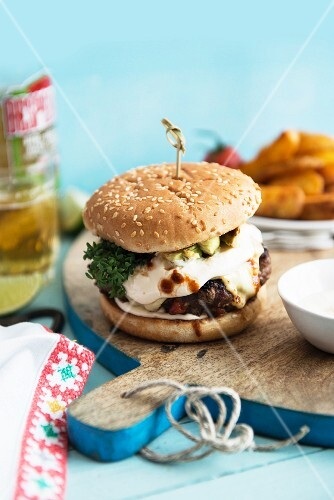 Mexican burger with cheese