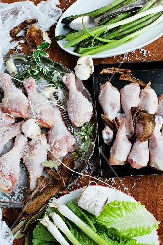 Chicken drumsticks and ingredients
