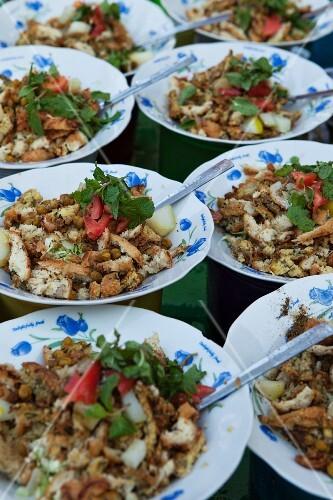 Street food on plates (Burma)