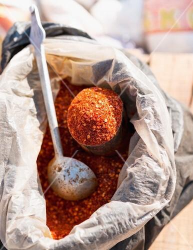Chilli powder in a sack at the market (Bhutan)