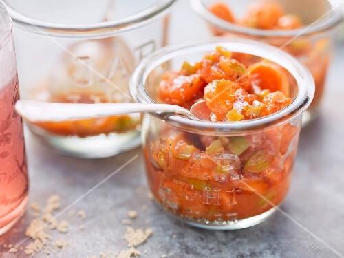 Carrot chutney in glasses