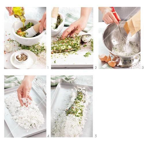 Preparing trout in a salt crust