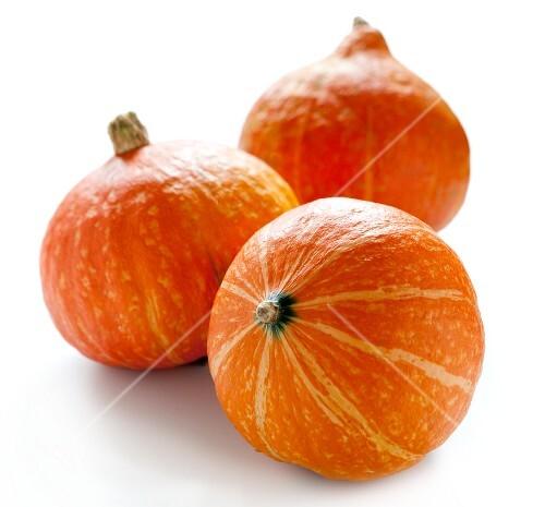 Three Hokkaido pumpkins