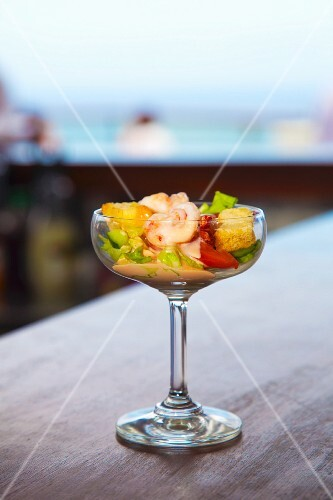 Classic prawn cocktail on a restaurant counter