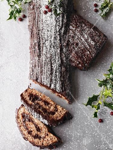 Yule Log (chocolate roll) for Christmas