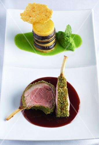 Lamb chops with a mint crust