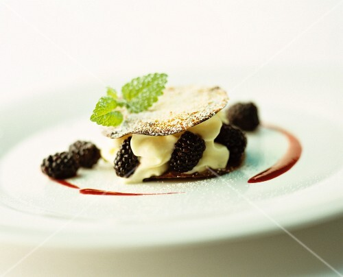 Mille feuille with cream and blackberries