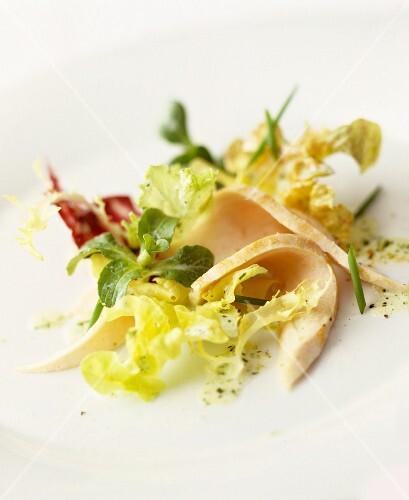 Salad leaves with sliced turkey