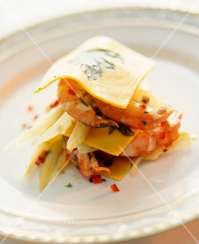 Open lasagne with chilli prawns