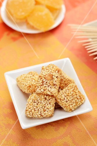 Apricot treats coated in sesame seeds