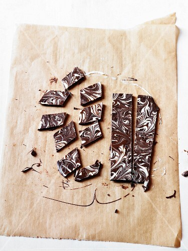Marbled chocolate pieces on grease-proof paper