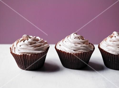 Chocolate cupcakes with meringue
