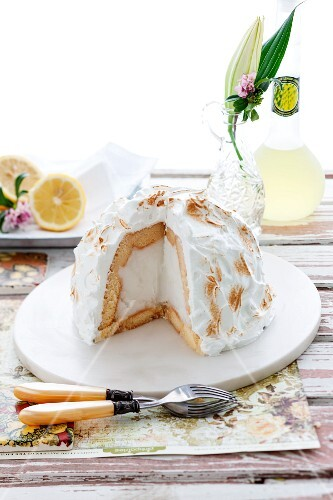 Baked Alaska with lime sorbet (ice cream dessert topped with meringue, USA)