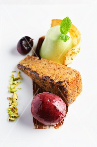 Hazelnut cake with cherry sorbet
