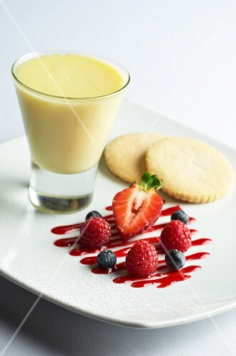 Lemon posset with fresh berries