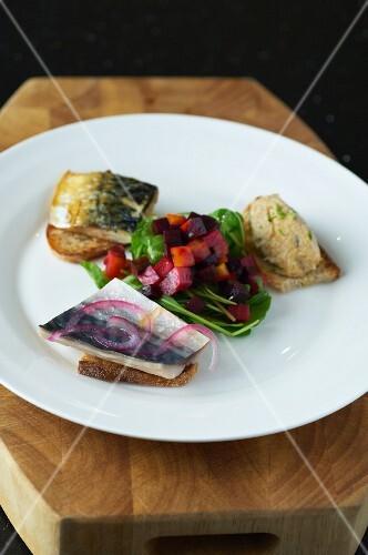 Mackerel three ways on bread with a beetroot salad