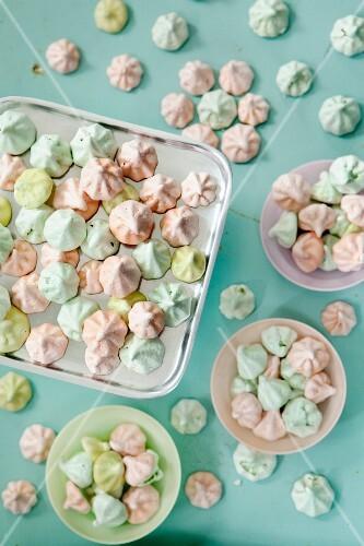Pastel coloured meringue dots