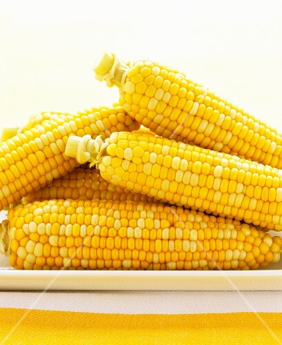 Cooked corn cobs