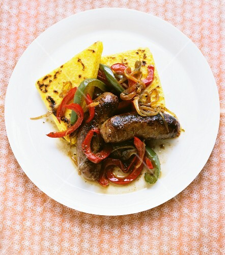 Sausage and peppers with toasted polenta