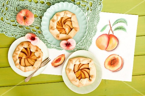 Sweet peach galettes (rustic tarts, France)