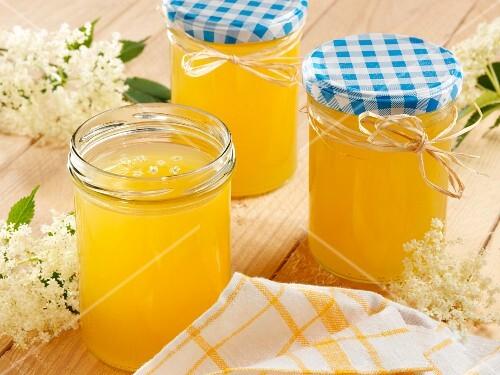 Three glasses of elderflower and orange jelly