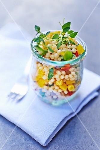 Pearl barley salad with vegetables