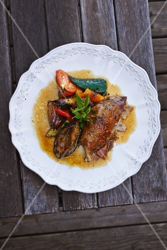 Lamb with grilled vegetables