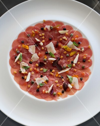 Veal carpaccio with diced vegetables