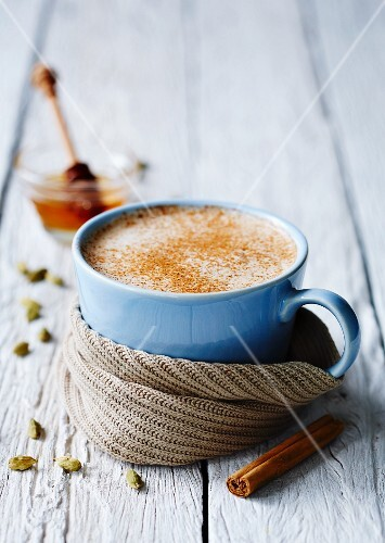 Chai tea with cinnamon and honey