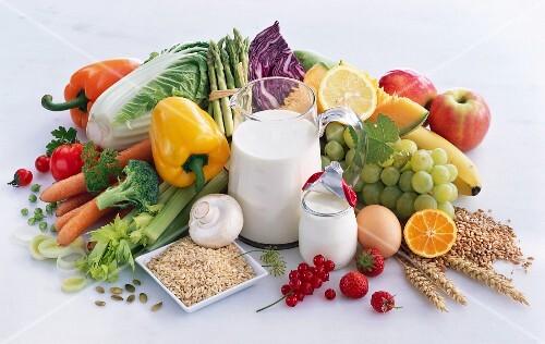 Healthy foods: vegetables, grains, milk, yoghurt, eggs and fruit