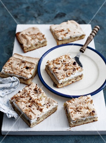 Apple cake with meringue and hazelnuts