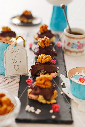 Petit fours with chocolate and walnuts