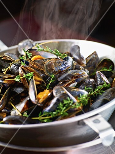 Steamed mussels with thyme (close-up)