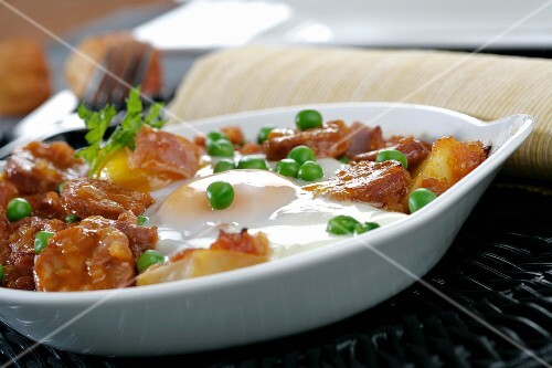 Spanish potatoes with chorizo in a pan (Andalusia)