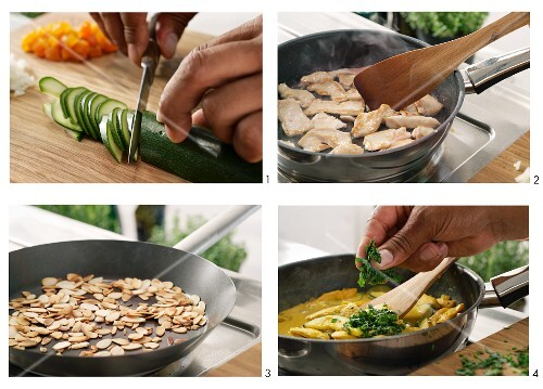Middle Eastern chicken breast with courgette, dried apricots and flaked almonds being prepared