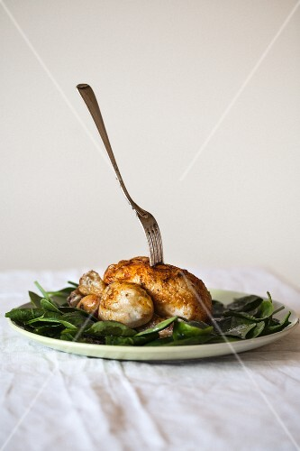 Roast chicken with a fork on fresh spinach