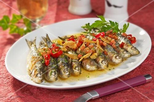 Fried sardines with ham