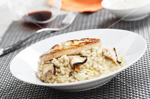 Mushroom risotto with goose liver