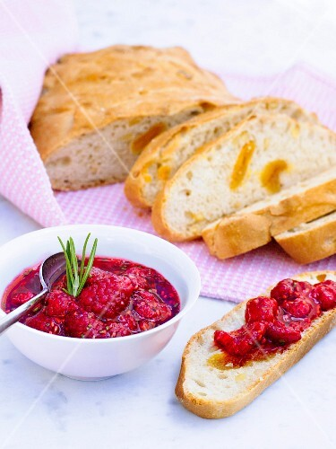 Bread with raspberries, Sweden.