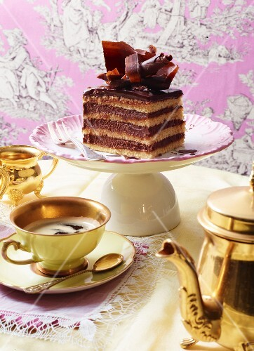 Cointreau ganache layer cake served with coffee
