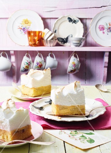 Slices of lime cake topped with coconut meringue