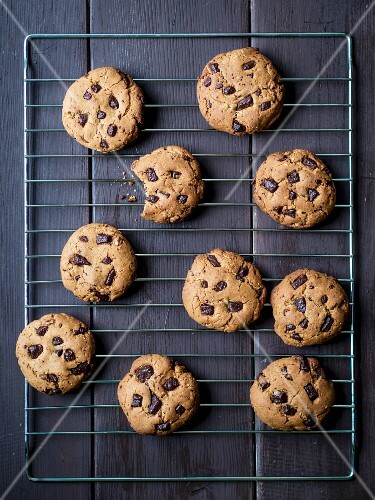 Freshly baked peanut butter chocolate chip cookies.