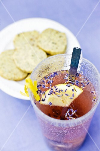 Lavender drink with snacks