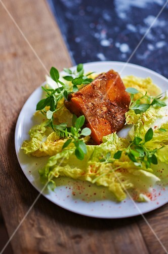 Pig's cheek with lettuce