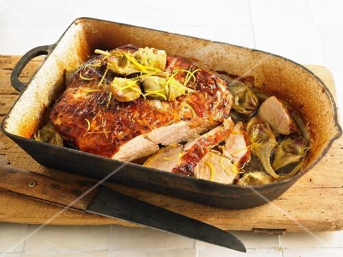 Girello ai carciofi (pot-roasted veal with artichokes, Italy)