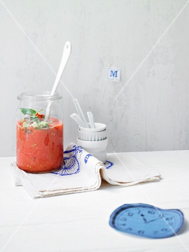 Melon gazpacho with peppers and chilli