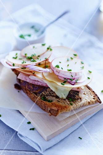 Bread topped with ham, apple, Gruyère and onions