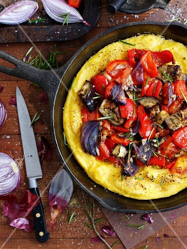 Polenta pizza with peppers and onions
