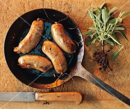Sausages fried in a pan, and freshly harvested sage
